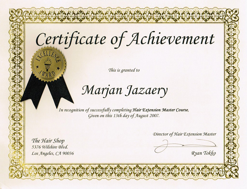 Certificate Of Achievement Hair Extension
