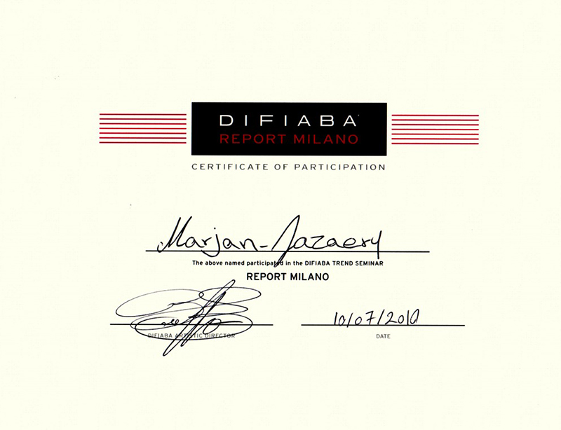 Difiaba Report Milano Certificate